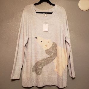 LC LAUREN CONRAD Blue Polar Bear Christmas Sweater